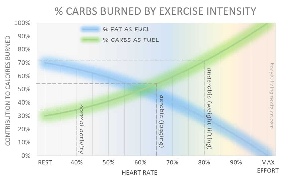 Glycogen Percent Carbs Burned By Exercise Intensity