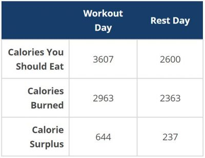 bulking calorie calculator example