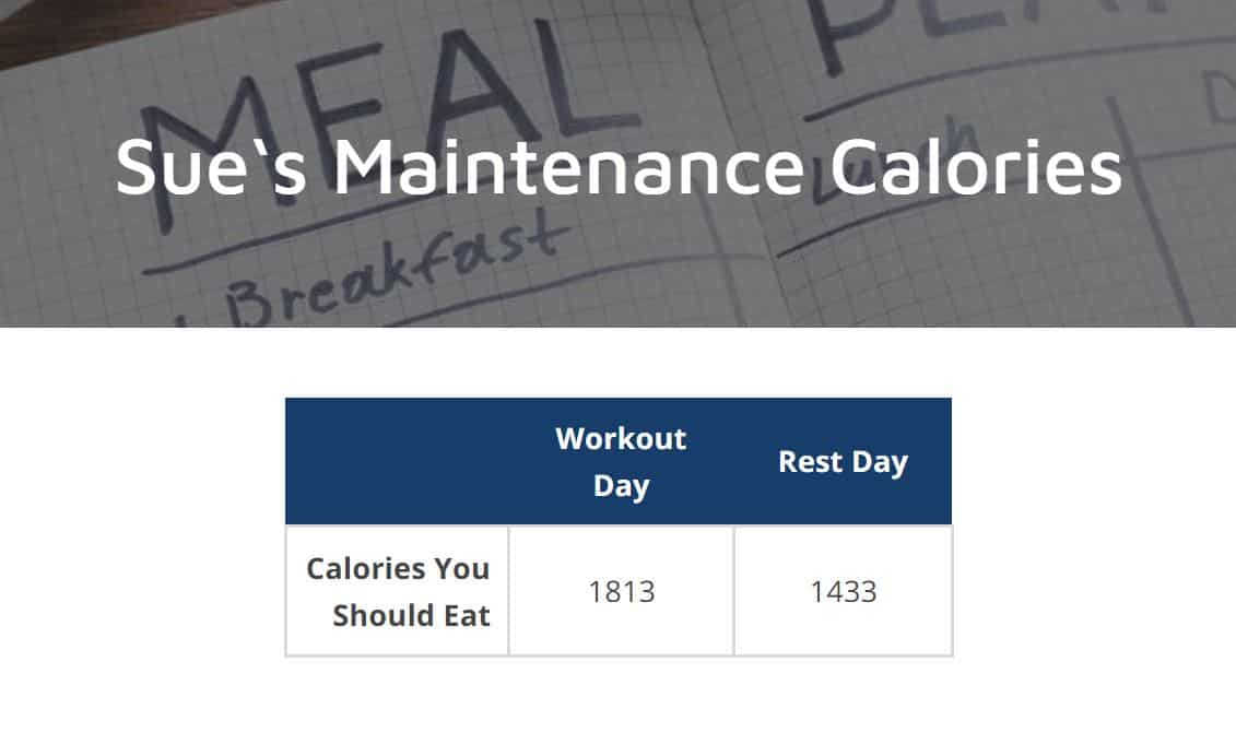 maintenance calorie calculator results