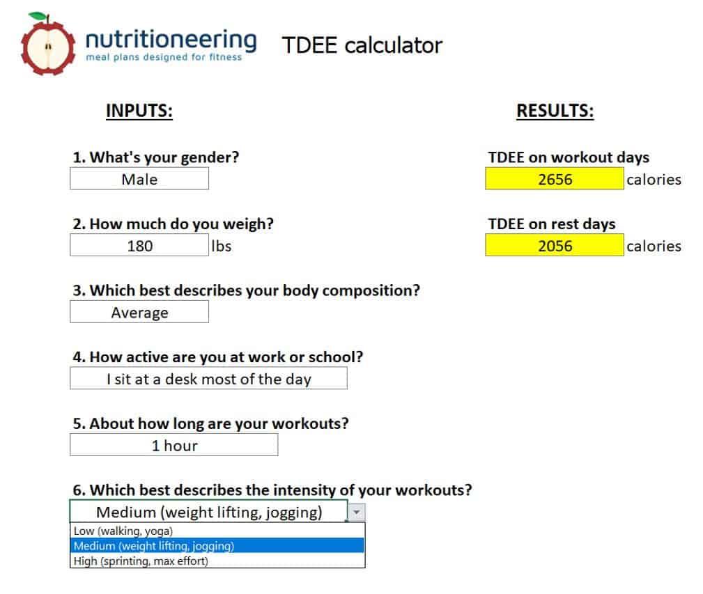 tdee calculator screenshot